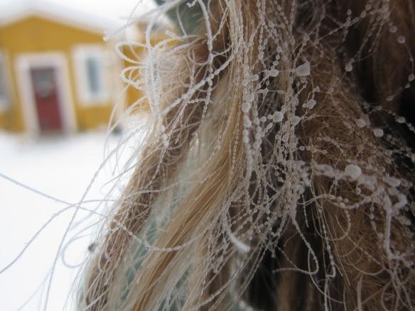 Pakkanen koristaa tontun hiukset
